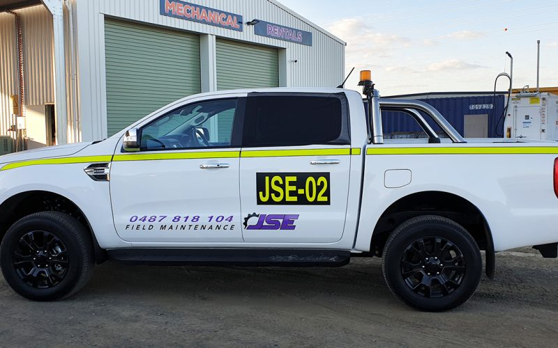 JSE Field Maintenance logo sticker and mine spec signs for vehicle
